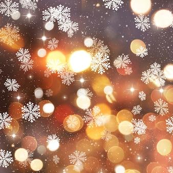 Or fond de Noël avec des flocons de neige et étoiles