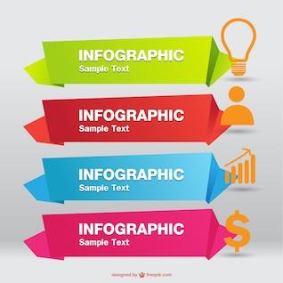 Origami infographie étiquettes vecteur