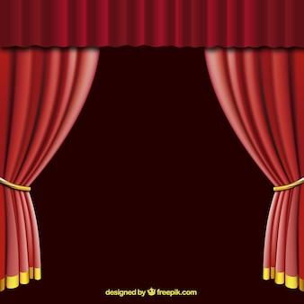 ouverte rideau rouge