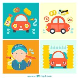 Pack de dessin animé de lavage de voiture