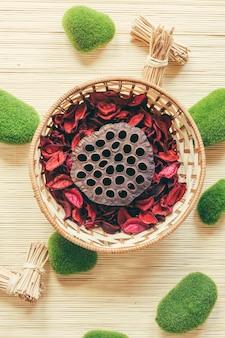 Panier aux champignons et pétales de rose