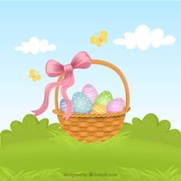 Panier avec des oeufs de Pâques