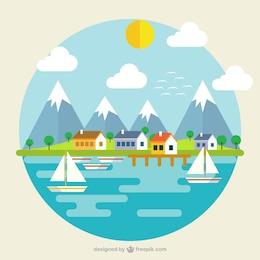 Paysage avec des montagnes et de la mer