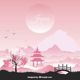 Paysage japonais dans les tons rose