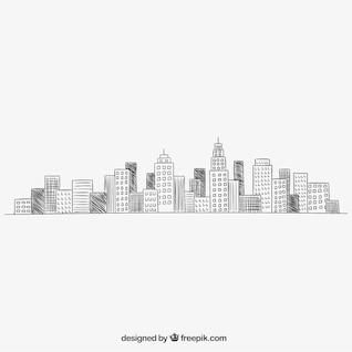 Paysage urbain dans le style tiré par la main