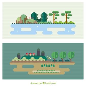 paysages de la nature dans la conception plat