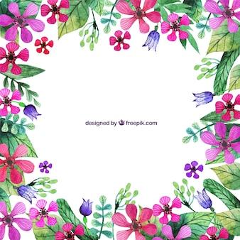 Peint à la main fleurs roses frontière