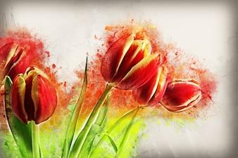 Peint à la main fond floral
