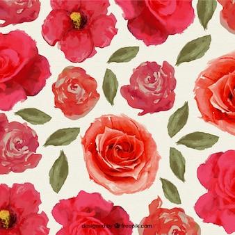 Peints à la main des fleurs rouges