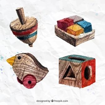 Peints à la main des jouets en bois