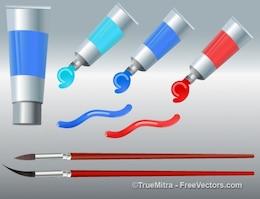 Peinture Pinceau Gel tubes rouges accessoires bleus acrylique art