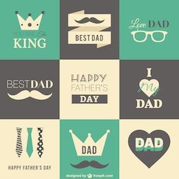 Pères rétro badges de jour