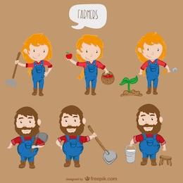 Personnages de dessins animés agriculteurs