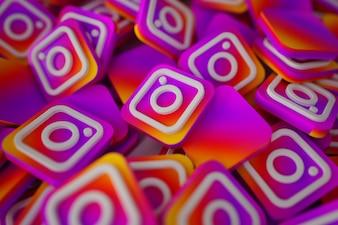 Pile de 3D Instagram Logos