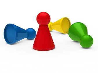 Pions d'échecs couleurs