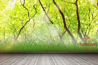 Planks avec des arbres de fond