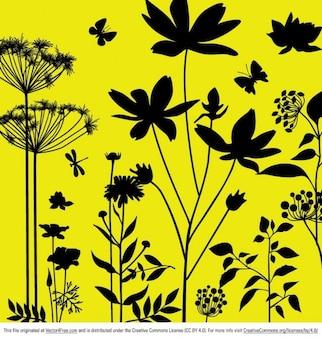Les plantes et les insectes sur fond jaune