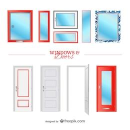 Portes et fenêtres éléments vectoriels