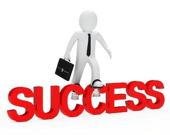 Poupée de chiffon sur le mot «succès»
