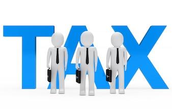 Poupées de chiffon avec le mot «impôt»