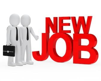 Poupées de chiffon avec le mot «nouvel emploi»