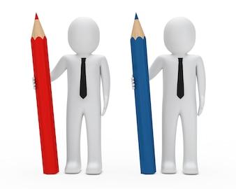 Poupées de chiffon avec un crayon rouge et bleu
