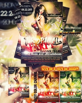 prime party flyer tropicaux multicolores