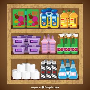 Produits de nettoyage supermarché vecteur