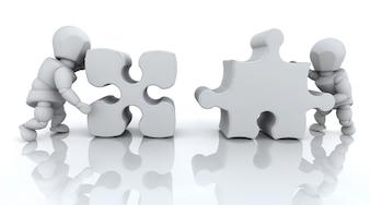 Puzzle morceaux, 3d