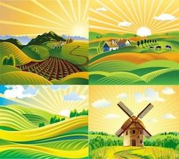 Quatre paysages ensoleillés