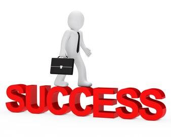 Rag doll marche sur le mot «succès»