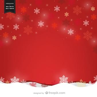 Vecteur de fond rouge avec des flocons de neige