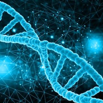 Rendement 3D d'un fond médical avec des brins d'ADN