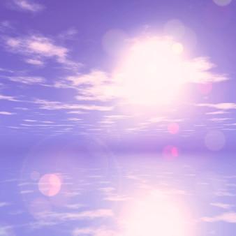 Rendement 3D d'un paysage de l'océan du coucher du soleil violet