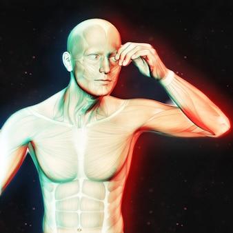 Rendement 3D d'une figure masculine tenant la tête dans la douleur avec double effet de couleur