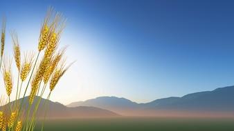 Rendu 3D du blé avec des collines dans la distance