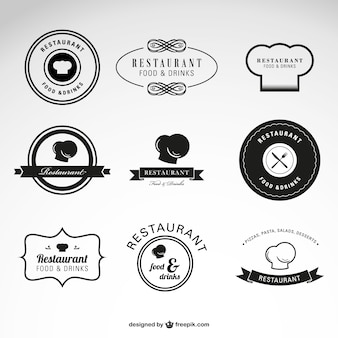 Repas au restaurant et des boissons vecteur logos