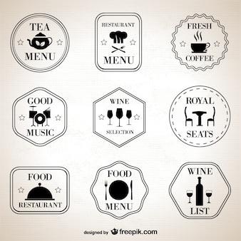 Rétro symboles restaurant fixés
