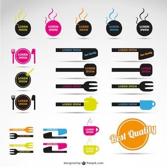 Restaurant vecteur étiquettes graphiques gratuits