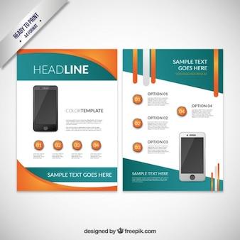 Résumé brochure avec un téléphone mobile