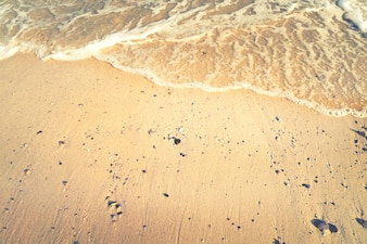 Résumé de l'été de la mer. Plage de sable doré avec des vagues de l'océan. espace libre