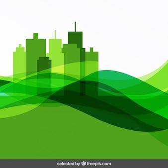 Résumé fond vert avec paysage urbain