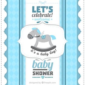 rétro bébé carte de douche pour un garçon