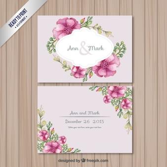 Rétro carte de mariage avec des fleurs