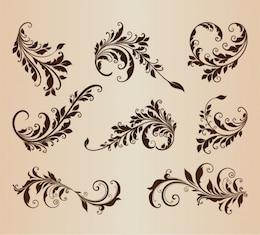 Rétro floral ensemble des formes de vecteur