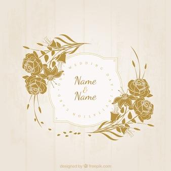 Rétro invitation de mariage floral