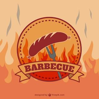 Rétro logo de vecteur de barbecue