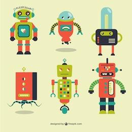Rétro robots éléments vectoriels