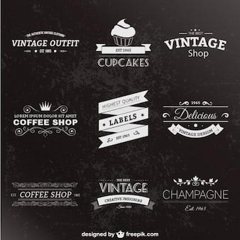 Style rétro étiquettes paquet
