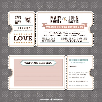 Mariage rétro modèle d'invitation